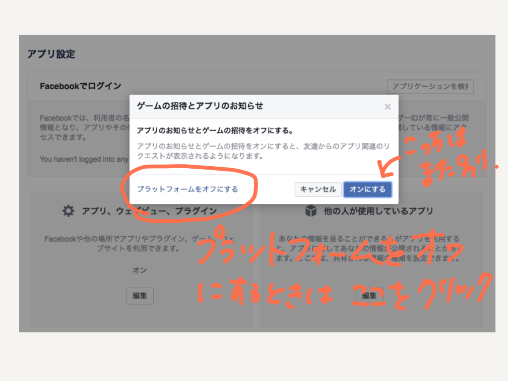 facebookプラットフォームアプリの設定