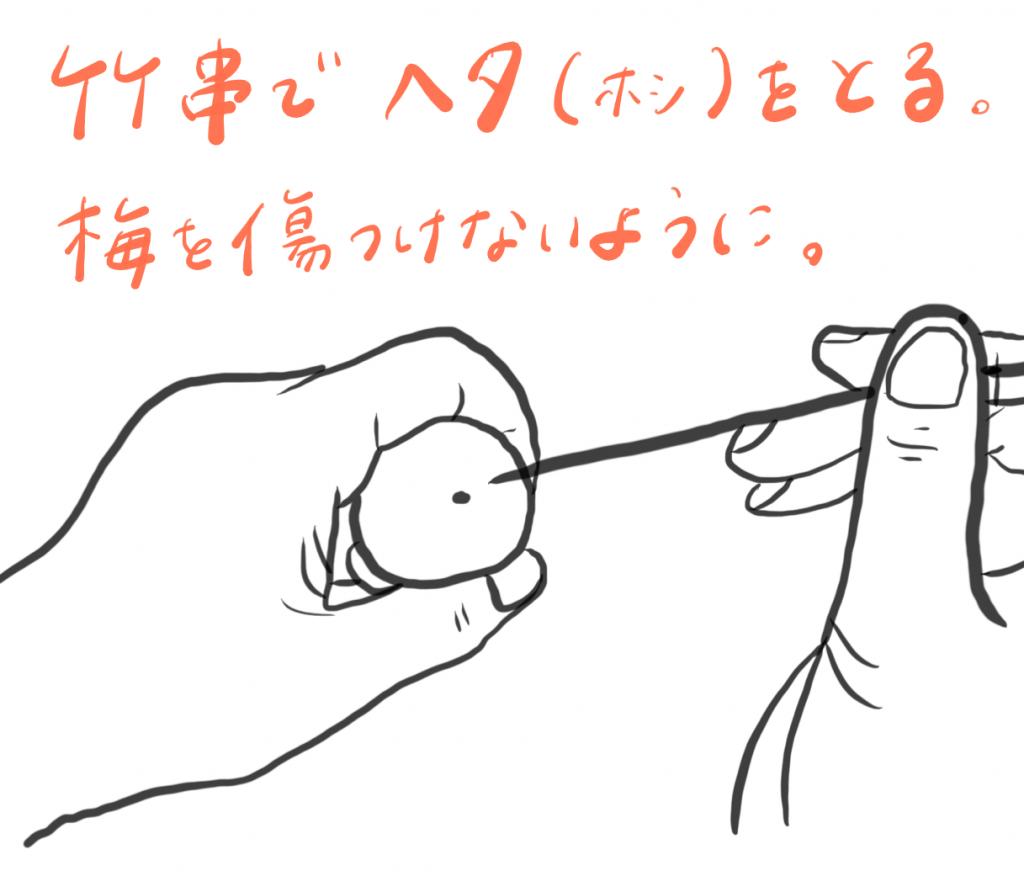 青梅の下処理(竹串でヘタを取る)