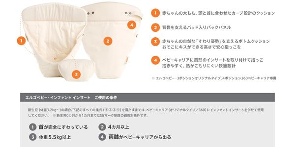 エルゴベビーergobabyのインファントインサートⅢ(オプション)を使うと、オリジナルもアダプトも新生児から利用可能