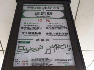 行きは田無駅から「はなバス第4北ルート:花小金井行き」で多摩六都科学館下車