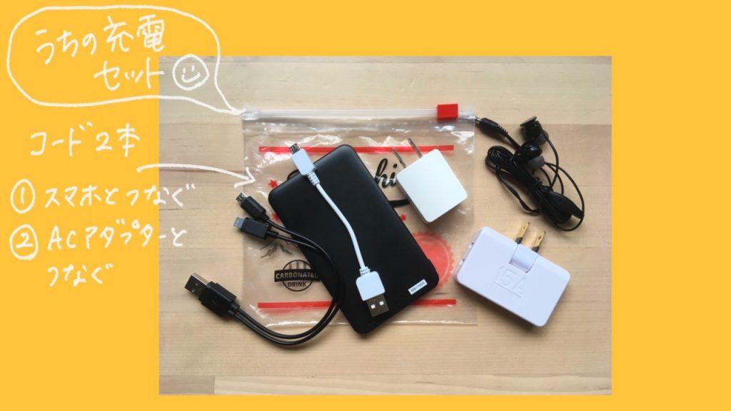 防災用の非常持ち出し袋に入れておくモバイルバッテリーセットにケーブルは2本入れる